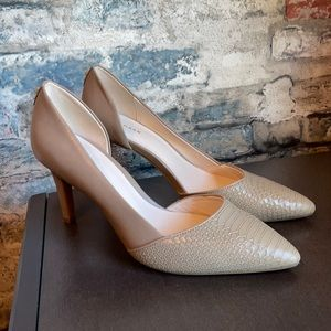 Cole Haan Nude Pumps with Snakeskin Pointed Toe Sz 7B
